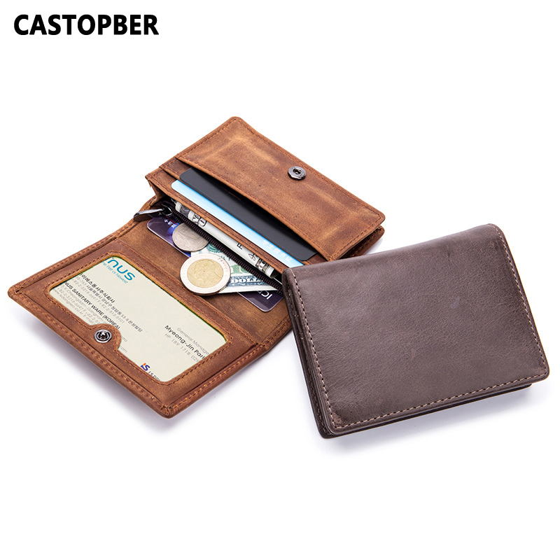 Vintage Crazy Horse Leather Men Wallet Card Holder Credit ID Business Card Case Cow Genuine Leather Coin Purse For Man Quality
