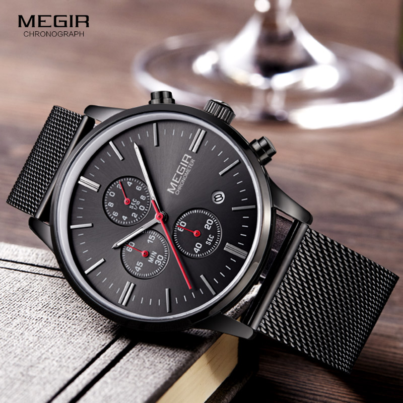 Megir Fashion Mens Business Rustfrit Stål Band Quartz Ure med Kalender Chronograph Lysende Analog Armbåndsur Mand 2011