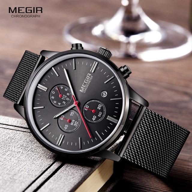 Megir relógio masculino de pulso, relógio de quartzo com pulseira de aço inoxidável, cronógrafo com calendário, luminoso analógico, moda masculina 2011