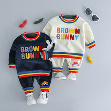New Childrens Winter Suit Babys SET Thickened Two Pieces Clothes  Kids Set Unisex