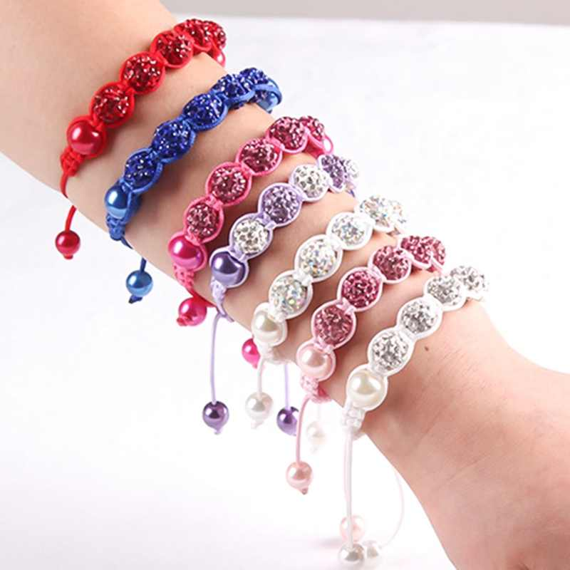 Baby Kids Bracelet Pave Crystal Disco Ball Candy Beads Friendship Children Bracelets  Nice Gift for Children kids