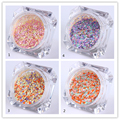 4 Unids/set 1mm Colorful Nail Consejos Lentejuelas Hexagonal Glitter Powder Polvo Manicura Color de La Mezcla DIY Decoración de Uñas de Arte 1-4