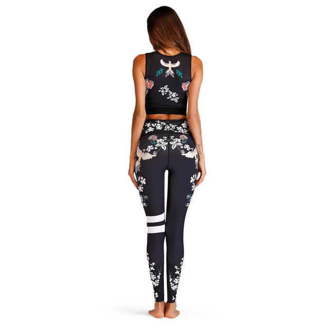 2 Piece Floral Print Women Yoga Set With Leggings