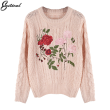 Emitiral Winter Knitted Twist Sweaters Women 2017 O Neck Elegant Embroidery Floral Female Pullovers Women Tops Casual Outwear