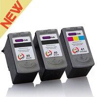 hisaint 3Pcs PG 40 CL 41 Black&Tri color Ink Cartridge Compatible For pg 40 cl 41 For Canon IP1180 1200 mp210 pixma mx308 MP140