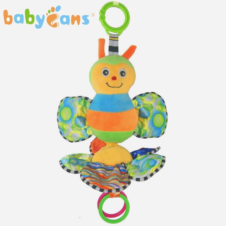Горячая Распродажа, музыкальные детские Мультяшные погремушки, пчела, переносные детские погремушки, обучающая игрушка прорезыватель для зубов, Детская плюшевая Мобильная игрушка для детской кроватки