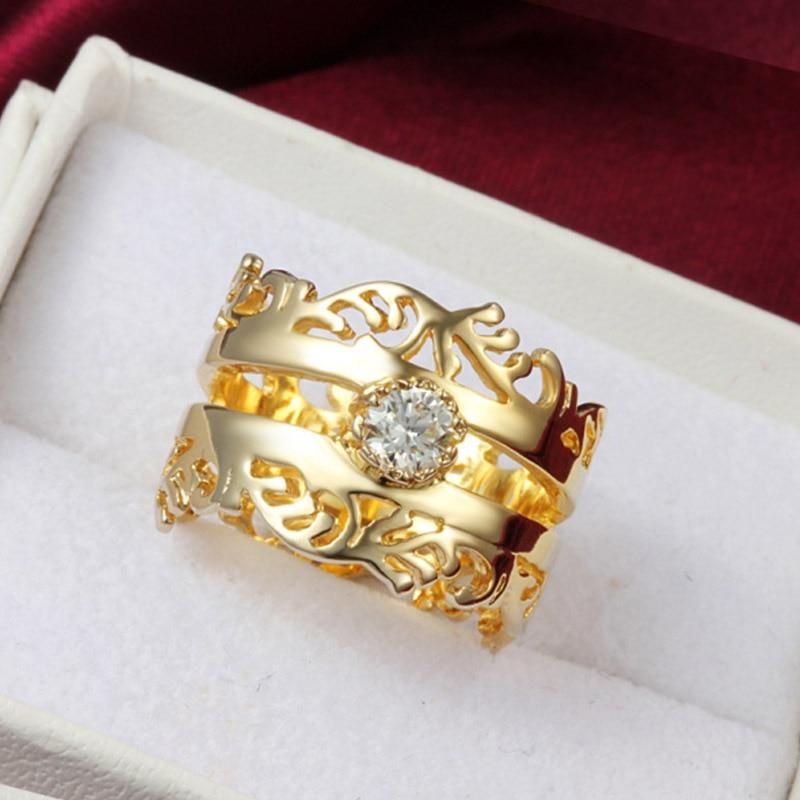 5b1d1175afe0 Anillos de fiesta grandes de color dorado para mujer retro CZ hueco aros  conjuntos de novia anillo de lujo bague femme jewelry gift 18KR016 en  Anillos de ...