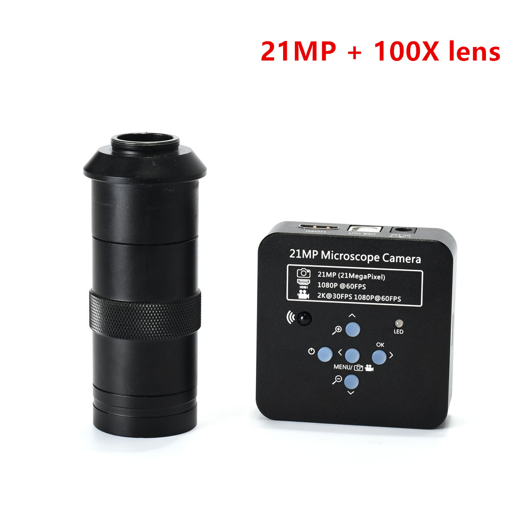 21MP 1080P 60FPS 2K Industrial Camera HDMI/<font><b>USB</b></font> Digital Video <font><b>Microscope</b></font> Magnifier <font><b>100X</b></font> 180X 200X 300X Lens C-mount Accessories image