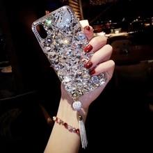 Luxury Brand Bling Diamond Tassel Phone Case For iPhone 6 X 6s 7 8 Plus XR Xs Max Soft TPU Back Pendant Swan Cover
