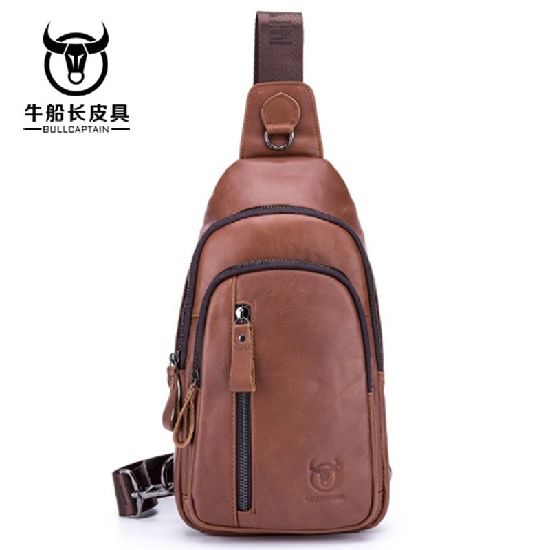 BULLCAPTAIN men Genuine Leather messenger bag Crossbody Bags Brand Small Male Shoulder Bag casual mens music chest bags