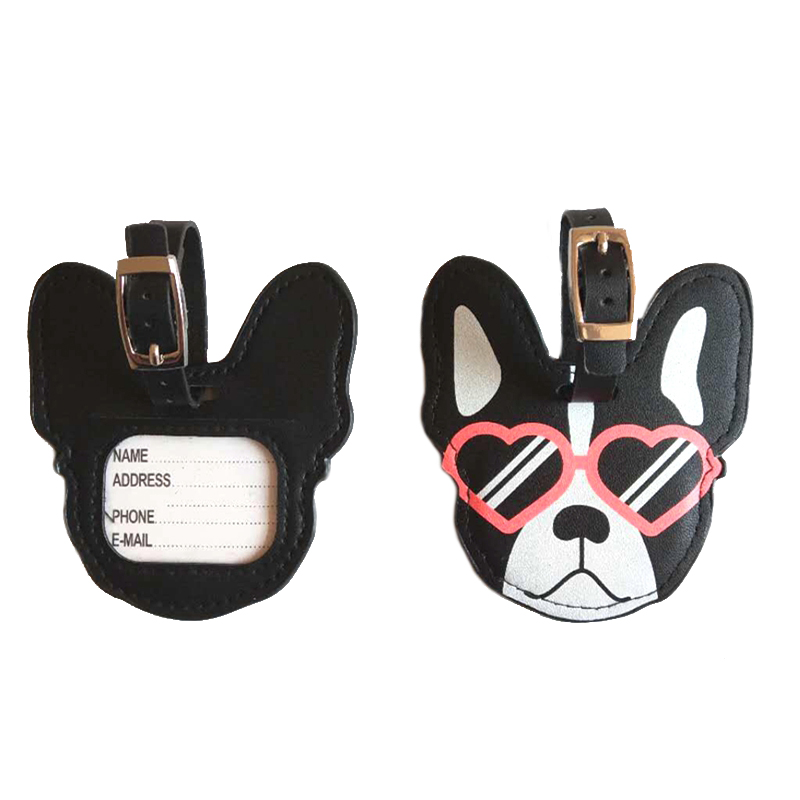 Travel Accessories PU Leather Animal Dog Luggage Tag Women Portable Label Suitcase Name ID Address Holder Baggage Boarding
