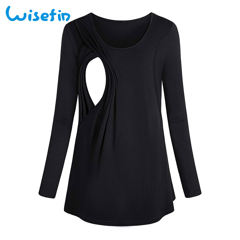 Wisefin Women Tee T-Shirt Tops Long Sleeve Breastfeeding Maternity Clothes Blouses Autumn Casual Solid Pregnancy Nursing Women stylish solid color batwing sleeve asymmetrical tops for women