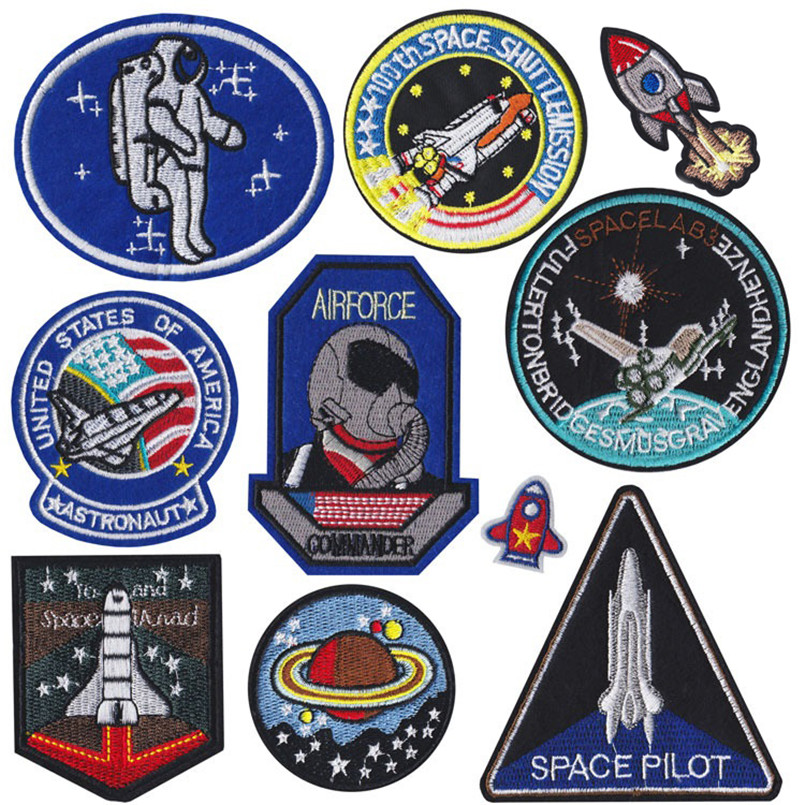 USA Pilot Planet Astronaut Spaceship Space Shuttle Rocket Badge Patch Jeans Jackets Bag Shoes Decoration Applique patches(China)