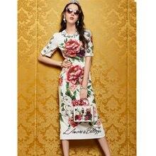 Di lusso di Marca Del Progettista Vestito Lungo per le Donne Elegante  Diamante Bottoni Peonia Stampato Mid-Calf Dress bab558921d2