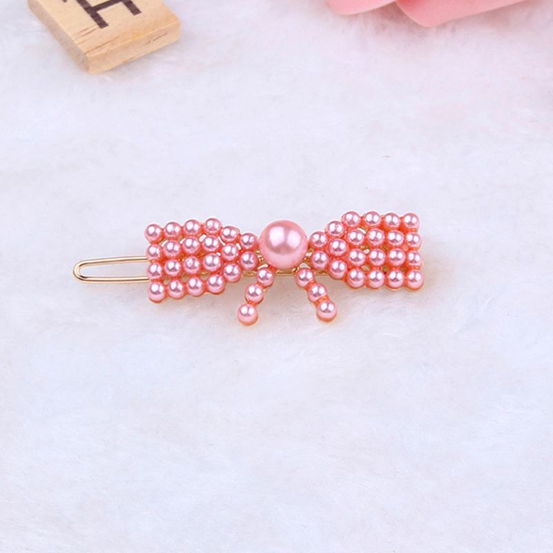Korean Sweet Girl Pink Imitation Pearl Frog Bobby Pin Geometric Butterfly Heart Crown Shape Women Hair Clip Beaded Snap Barrette in Women 39 s Hair Accessories from Apparel Accessories