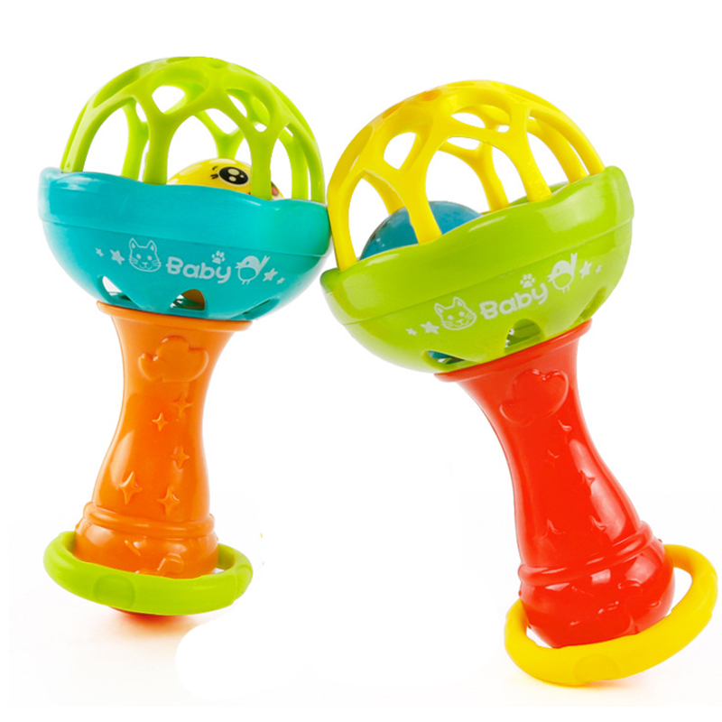 1pc Baby Rattles Toy Intelligence Grasping Gums Hand Bell Rattle Toddler Funny Educational Mobiles Teething Toys Birthday Gifts