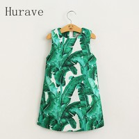 2016 Summer Clothes Green Leaves Kids Print Sleeveless A Line Children Clothing Girl Dress For Fomal