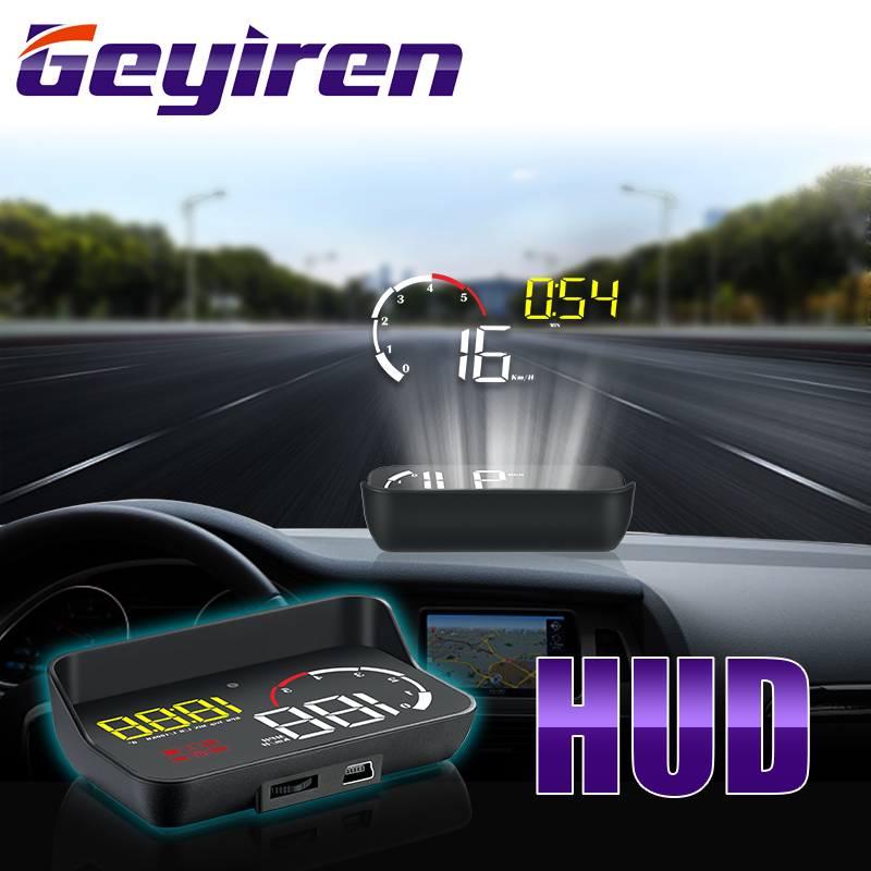 GEYIREN 2019 Newest M10 HUD display With Lens Hood yellow led Windshield Projector head up OBD Scanner Speed Fuel Warnin