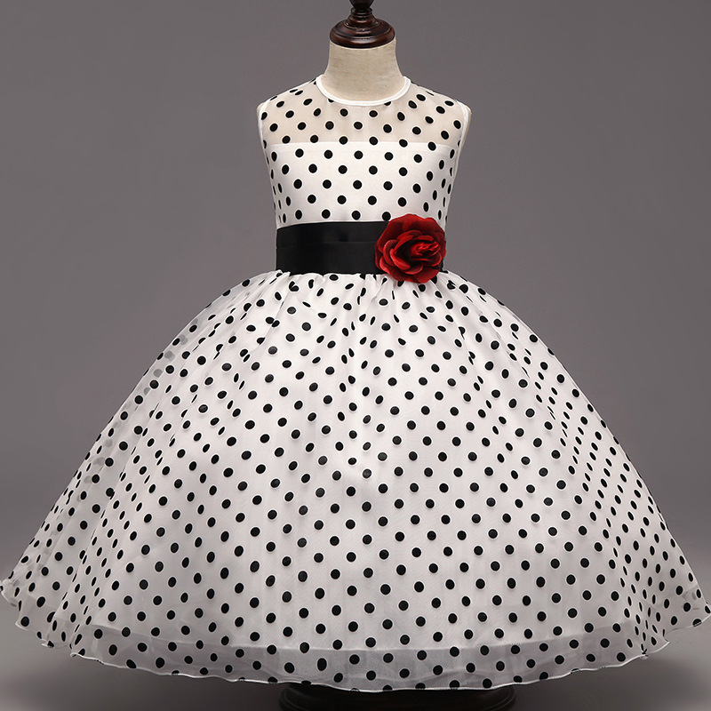 White Wedding Dress With Black Flowers: Aliexpress.com : Buy Elegant White Black Flower Kids Polka