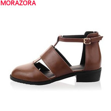 big 34-48 2015 women sandals soft leather leisure round toe flat shoes elegant buckle high quality casual summer shoes