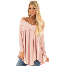 ZOGGA 2019 Fashion Women Sweaters Loose Solid Shirts 3 Colors Sling Long Sleeve Cross Collar Knit Sweater Clothes