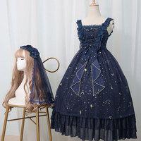 Original Harajuku Lolita Dress Star Pendant Spaghetti Strap Lace Chiffon Dress High Waist Embroidered Cute Princess Women Dress