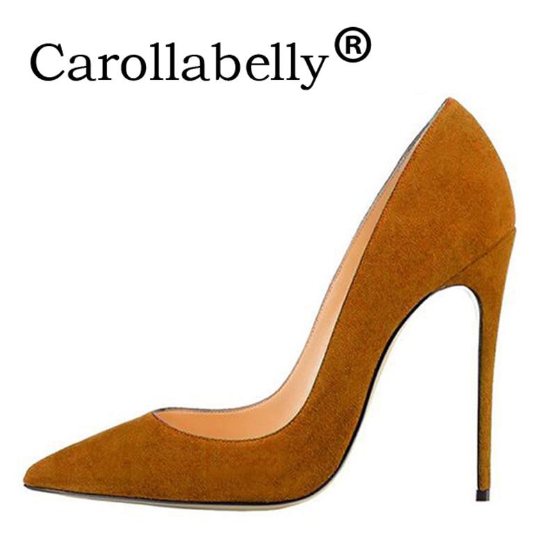 Carollabelly talons aiguilles femmes chaussures talons hauts 12 CM talons hauts noir chaussures escarpins femmes talons Sexy bout pointu chaussures de mariage