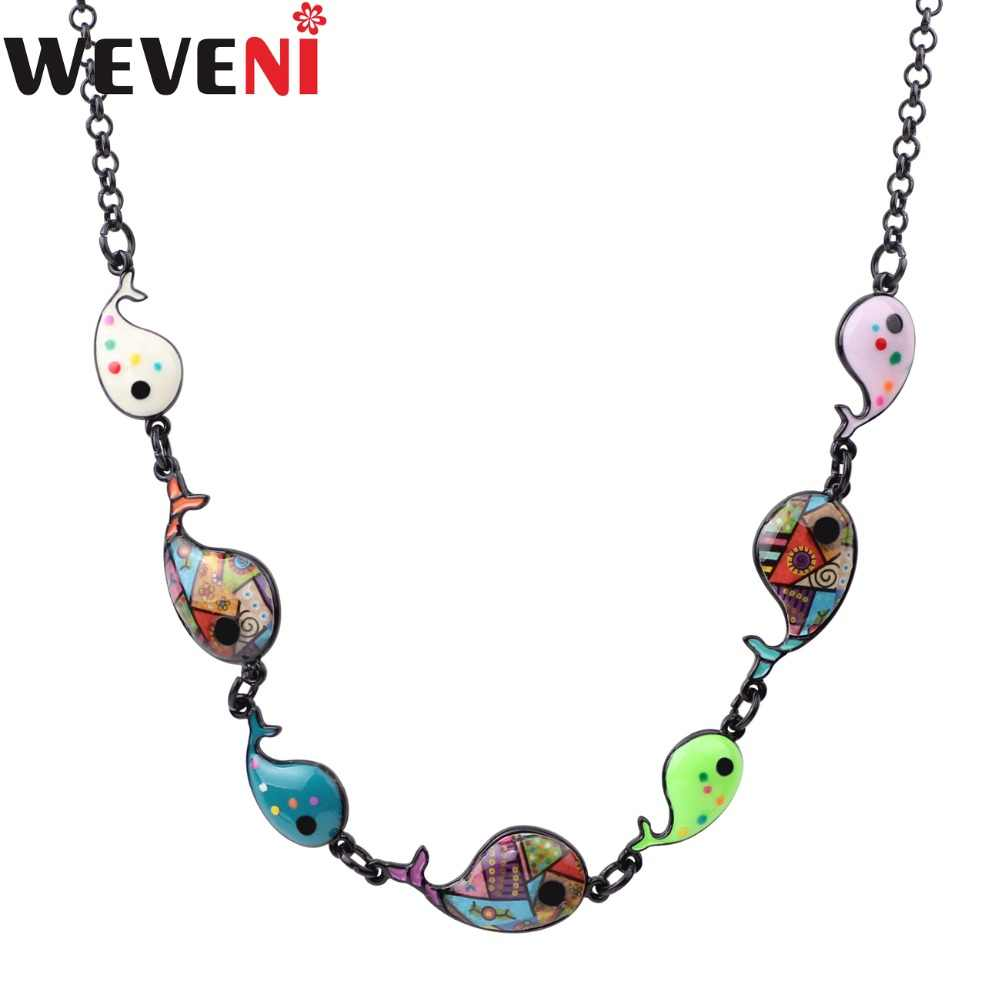 WEVENI Statement Maxi Enamel Metal Whale Fish Choker Necklace Pendants Chain Collar Fashion Ocean Animal Jewelry For Women
