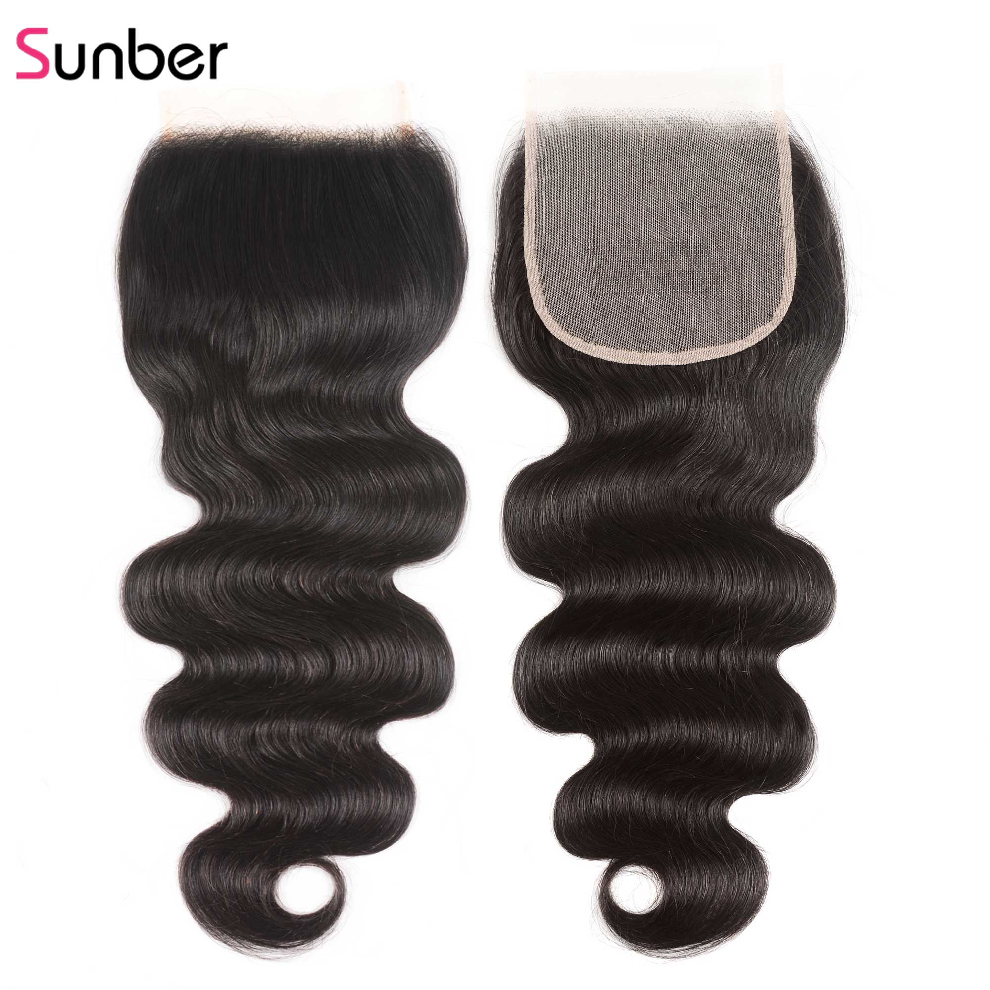 Sunber Hair Body Wave HD Closure Pre Plucked Remy Hair Natural Hairline Preuvian Human Hair 5x5 Transparent Lace Closure(China)
