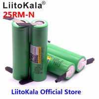 4pcs LiitoKala original 18650 2500mAh Battery INR1865025R 3.6 V Discharge 20A Dedicated Battery Power for + DIY Nickel