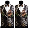 2017 Simple Real Tree Camo Mens Wedding Vests Outerwear Groomsmens Vests Realtree Spring Camouflage Slim Fit Mens With Bow Vests
