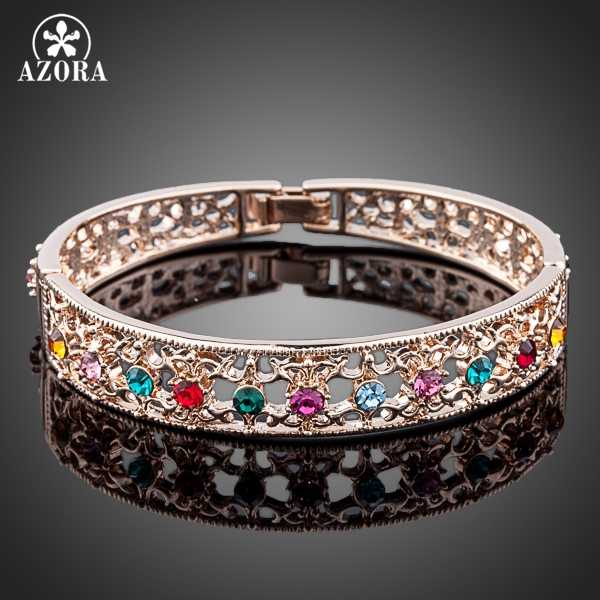 AZORA Multicolour Crystal Gold Color Bangle Jewelry Made with Genuine Stellux Austrian Crystals TB0026