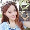 Moda nupcial tocado de corona de flores accesorios para el cabello cintas para el pelo de flores playa damas de honor casaron accesorios tejidos a mano decoración
