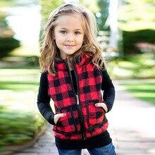 Весенняя детская одежда, жилеты и безрукавки зимний теплый жилет в клетку для маленьких девочек плотное пальто верхняя одежда, куртка# Tcd