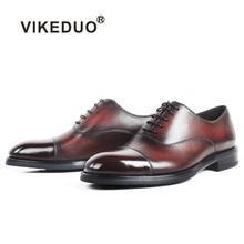 VIKEDUO Plain Brown Leather Shoes Men Genuine Cow Skin Patina Handmade Oxford Dress Wedding Office Bespoke Mans Footwear