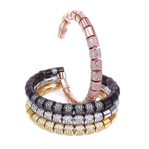 Image 3 - New Original Bangle Rose Gold & Black Color White Black Zircon Tube Beads Stringing Up Women Men Bracelets 2018 New Year Gifts