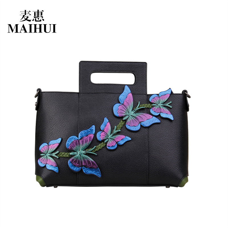 MAIHUI women leather handbags high quality shoulder bags chinese style real cow genuine leather bag ladies embossing butterf bag women leather handbags high quality real cow genuine leather bags new fashion chinese style floral shoulder bag casual tote bag