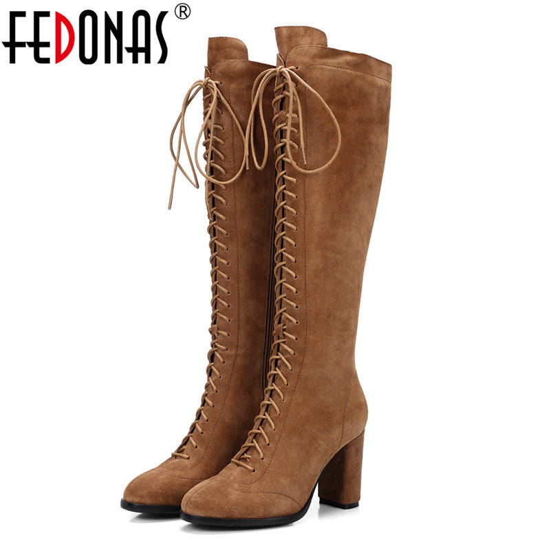 FEDONAS Retro Women Knee High Boots High Heels Long Autumn Winter Party Shoes Woman Warm New Ladies Platforms Knight Boots