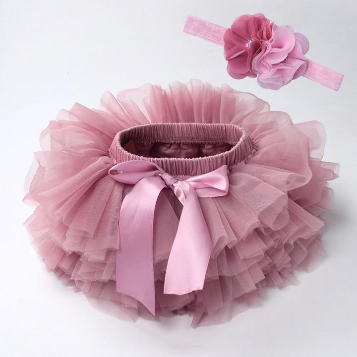 Юбка-пачка для маленьких девочек, комплект из 2 предметов, кружевные трусы из тюля, Одежда для новорожденных, Одежда для младенцев Mauv, повязка на голову с цветочным принтом, Детские сетчатые трусики - Цвет: beansand