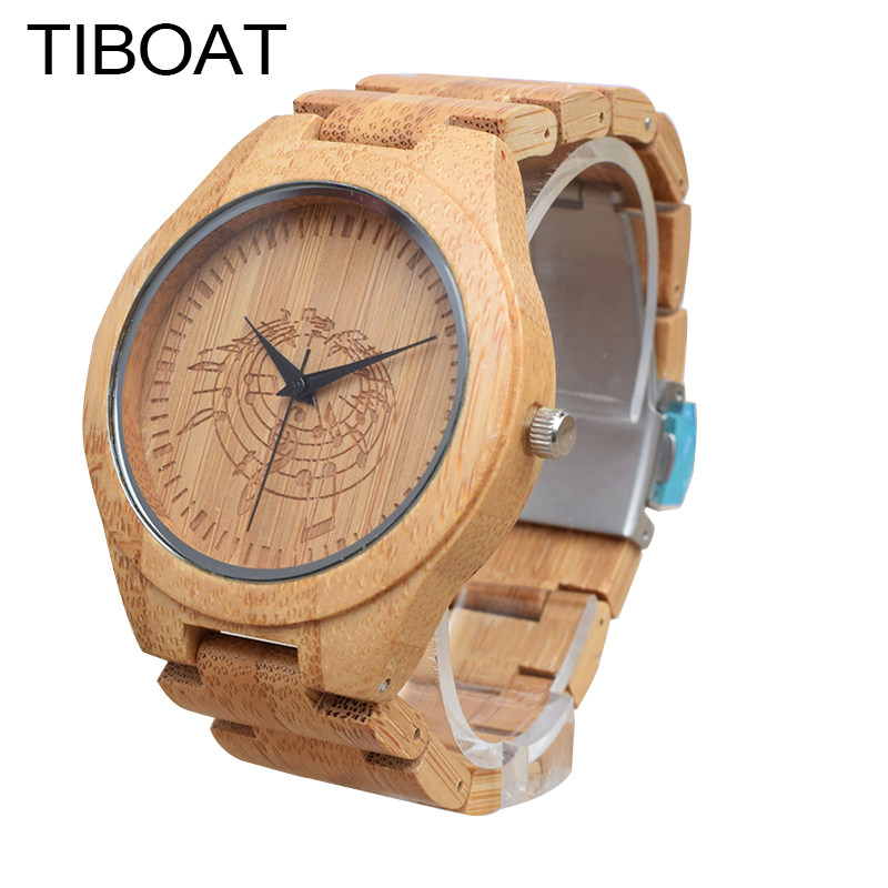 TIBOAT Men s Wristwatches Natural Bamboo Wood Watches With font b Musical b font Notes Engrave
