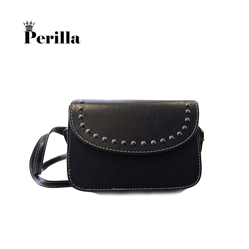 Perilla Brand Women Rivet Small Shoulder Bag Crossbody Mini Mobile Phone Bag Fashion Causal Bags PU Leather For Girls mochila 2017 fashion all match retro split leather women bag top grade small shoulder bags multilayer mini chain women messenger bags