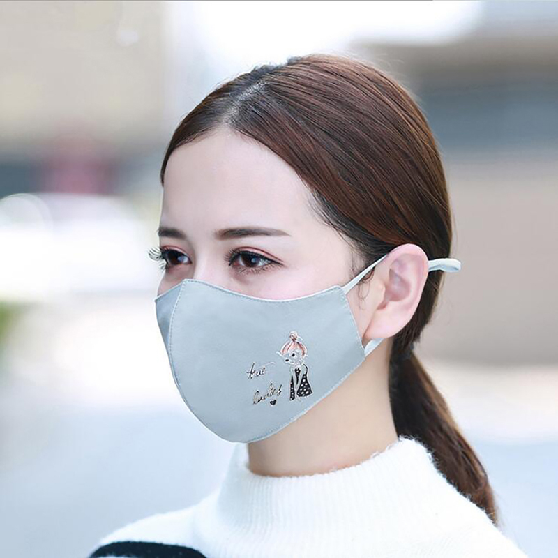 Korean Female Autumn Winter New Cotton Version Dust-Proof Warm Mask Dimensional Printing Cartoon Anti-PM2.5 Mask