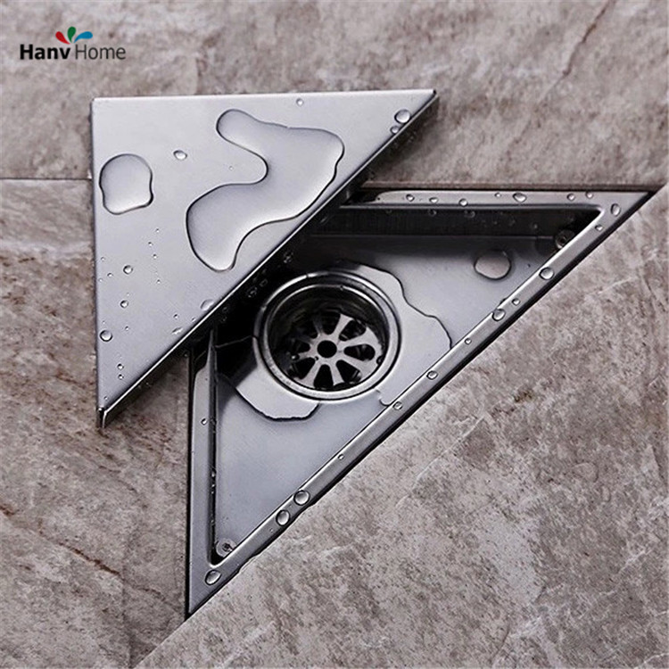 free shipping hidden type triangle tile insert floor waste grates shower drain 232mm117mm