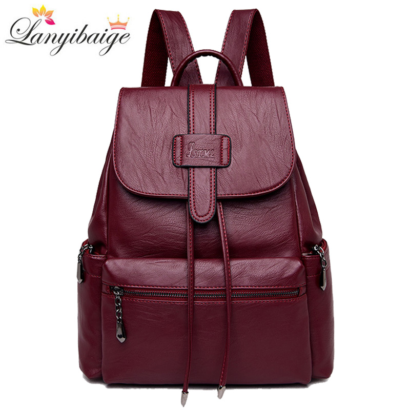 2019 New Women Backpack High Quality Leather School Bag For Lady Large Capacity Female Travel Backpack Casual Shoulder Bags2019 New Women Backpack High Quality Leather School Bag For Lady Large Capacity Female Travel Backpack Casual Shoulder Bags