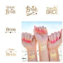 Tatuagem temporária de flamingo para noiva, tatuagem temporária de ouro em abacaxi, decoração para festa de casamento, adereços para fotos, 1 peça