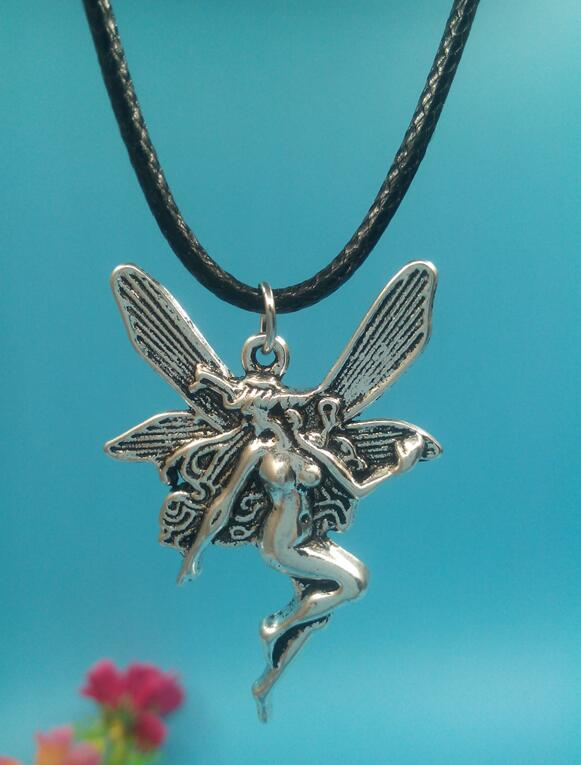 43x30mm Angel Fairy Pendant Necklace Vintage Ancient Silver Charms Choker Necklace New H ...