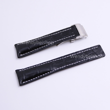 CARLYWET 22 24mm(20mm Clasp) Wholesale Black Men Women Real Cowhide Leather Wrist Watch Band Strap Belt  Silver Clasp Buckle