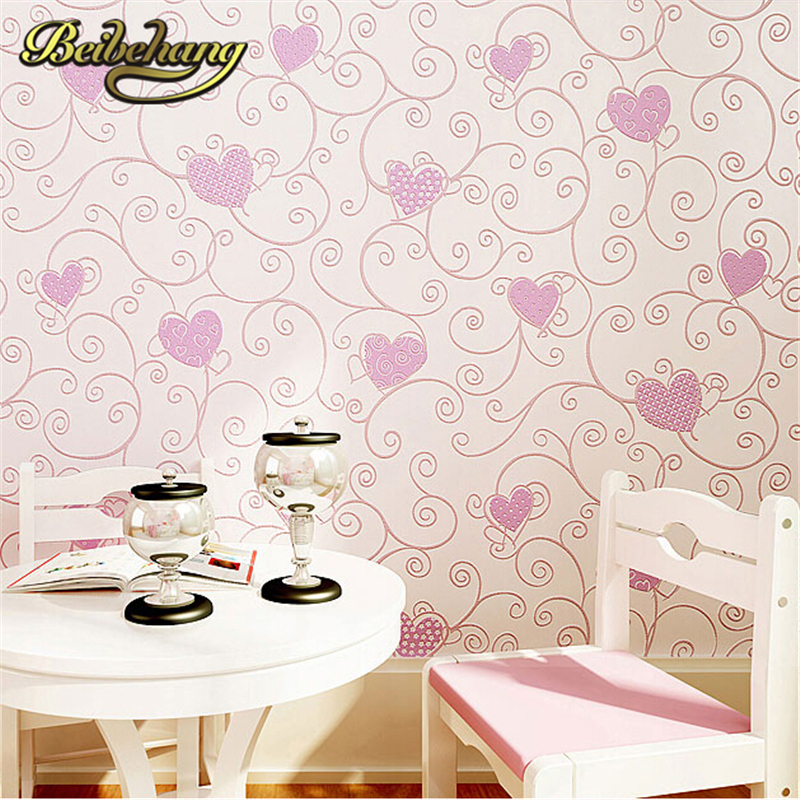 beibehang wallpaper Non-woven Home Decoration Wallpaper Kids Room Princess Blue/pink Color Cartoon Wall Paper 3d Papel De Parede beibehang non woven wallpaper rolls pink love stripes printed wall paper design for little girls room minimalist home decoration