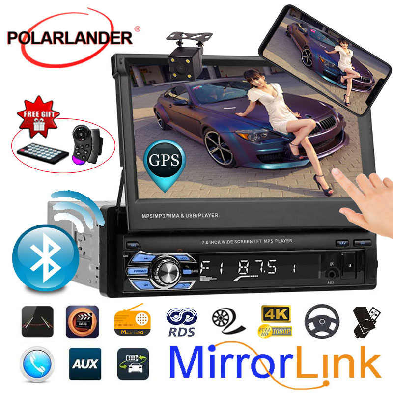 """7 """"Радио-Кассетный проигрыватель GPS автомобильный радиоприёмник Bluetooth стерео головное устройство автомобильного радиоприемника USB/AUX/SD сенсорный экран 1DIN Зеркало Ссылка"""