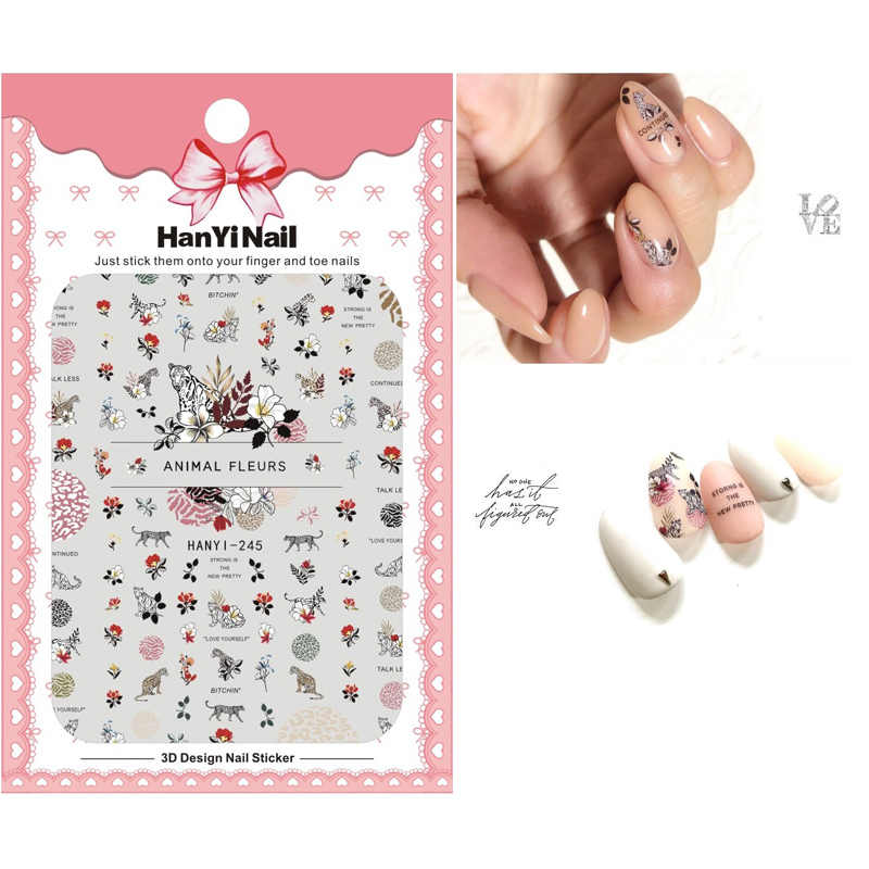 HY242-272 New Arrival Self-stick Nails Art Sticker Nail Wrap Sticker Tips Winter Christmas Tiger Animal Fleurs Manicura stickers